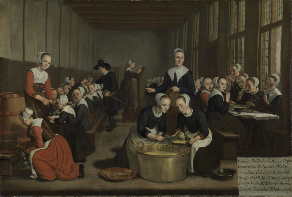 Het voeden der wezen, Jan Victors, 1659-1660. Collectie Amsterdam Museum Links op het schilderij is te zien hoe bier wordt getapt. Bier hoorde bij de dagelijkse kost. Ook voor kinderen.